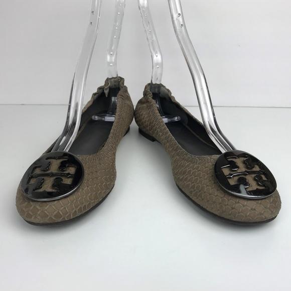 48d0f8556d1f TORY BURCH Reva Leather Flats Snakeskin Print 6.5.  M 5ab318e9739d4807b23d1528